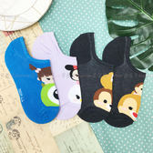 【KP】襪子 TSUMTSUM系列 奇奇蒂蒂 迪士尼 隱形襪 止滑矽膠條 帆船襪 成人卡通襪 22~26CM 四款選 正