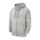 Nike 外套 NSW Club Full-Zip Hoodie 灰 白 男款 連帽 運動休閒【ACS】 BV2649-063