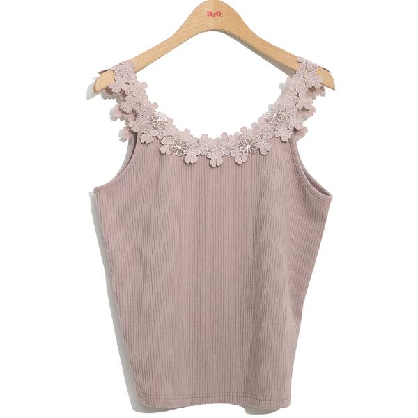 秋冬單一特價[H2O]花型蕾絲吊帶針織羅紋背心 - 白/灰/粉色 #9661006