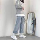 加絨直筒牛仔褲女秋冬寬松2021年秋季新款小個子高腰加厚闊腿褲子 錢夫人小鋪