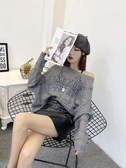 美麗閣2019秋季新款女裝鏤空針織衫長袖顯瘦慵懶風一字肩上衣休閒 米娜小鋪