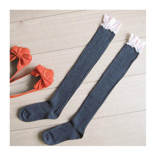 長筒襪 蕾絲 螺紋 加厚 過膝襪 長筒襪【FS018】 icoca  12/08