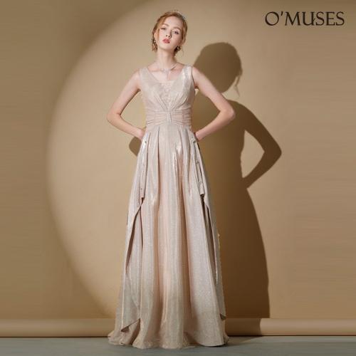 OMUSES 蕾絲V領金蔥伴娘婚紗訂製金色長禮服