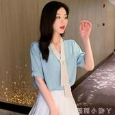 2020夏裝新款很仙的上衣洋氣雪紡襯衫氣質優雅短袖雪紡衫仙氣襯衣 蘿莉小腳丫