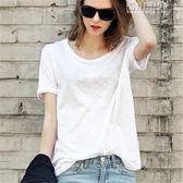 春夏簡約短袖女T恤白色竹節棉體恤打底衫寬鬆大圓領半袖純棉 青山市集