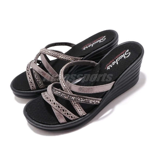 Skechers 涼拖鞋 Rumbler Wave-New Lassie 灰 黑 高跟 增高 女鞋 涼鞋【ACS】 31777PEW