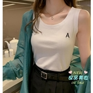 無袖上衣 夏裝新款韓版字母刺繡吊帶背心女外穿無袖T恤內搭打底上衣潮