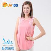 UV100 防曬 抗UV-造型領格紋背心-女