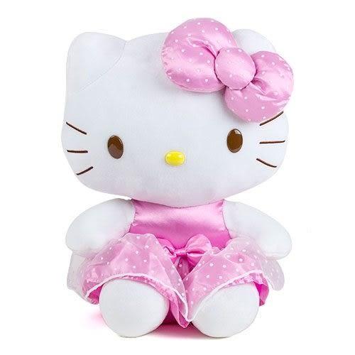 【震撼精品百貨】Hello Kitty_凱蒂貓~24吋坐姿絨毛娃娃(粉紅點點洋裝)#12840