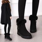新款冬季兔毛雪地靴女短筒內增高百搭加絨保暖磨砂短靴女棉鞋