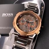 星晴錶業-BOSS伯斯男錶,編號HB1513362,46mm玫瑰金錶殼,銀色錶帶款