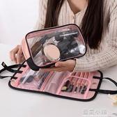抖音同款化妝包手提洗漱包便攜多功能收納袋隨身少女心化妝包 藍嵐