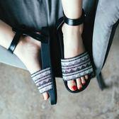 一字帶平底涼鞋女夏季學生平跟涼鞋女wy 【萬聖節八五折鉅惠】
