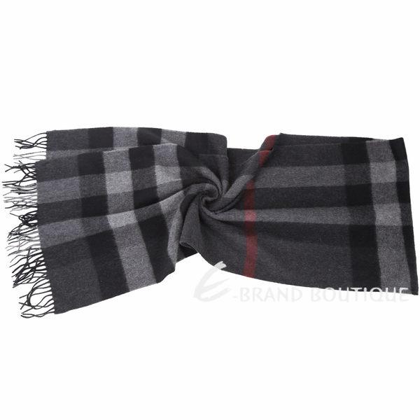 BURBERRY 100%喀什米爾炭灰色大格紋羊毛圍巾(200x36CM) 1630277-58