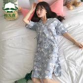 夏季日式和服純棉睡袍薄款正韓全棉睡衣女睡裙甜美可愛家居服短袖 【開學季巨惠】