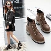 粗跟短靴-歐美時尚街頭復古女馬丁靴2色73is10[時尚巴黎]