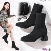 Bay 短靴 瘦瘦靴 彈力靴 中筒 襪靴 毛線 針織 襪子靴 粗跟 高跟 短靴