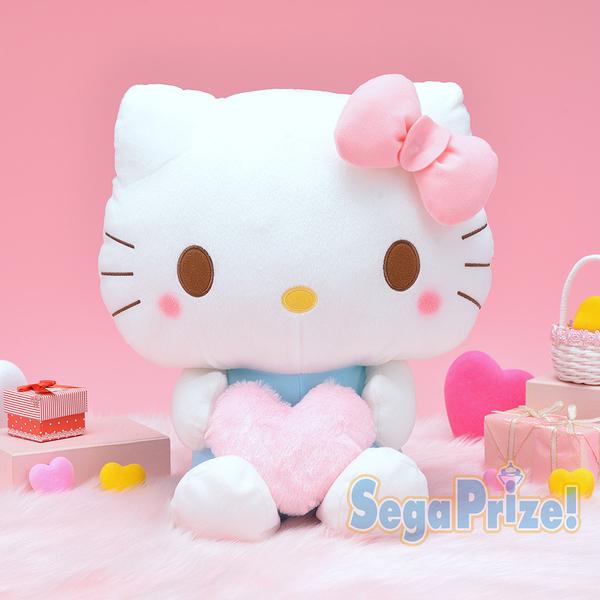 日本SEGA PLAZA 景品 手拿愛心HELLO KITTY絨毛娃娃_SE31409