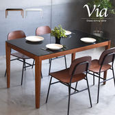 餐桌 茶几 工作桌 桌【W0016】薇雅玻璃餐桌135cm(胡桃) MIT台灣製  收納專科