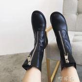 前拉鍊英倫風馬丁靴歐美粗跟女騎士靴復古中筒短靴女 盯目家