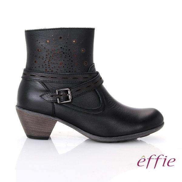 effie 都會休閒 柔軟真皮雕花奈米短靴 黑