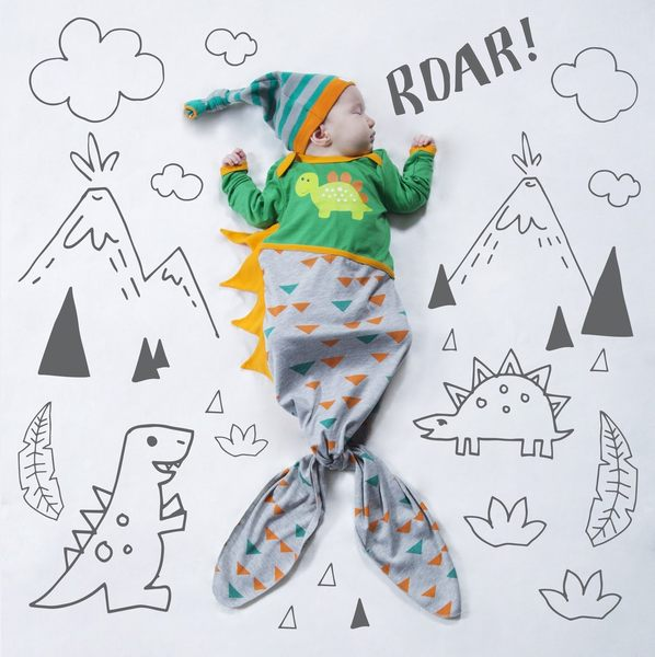 美國Izzy&Owie 魚尾包腳連身衣-可愛恐龍(單一尺寸0-9M)