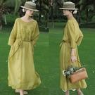 法式浪漫刺繡100支苧麻洋裝棉麻裙子/設計家 Q210312