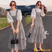 孕婦連衣裙網紅套裝夏裝新款小清新歐美風超仙夏天碎花裙子兩件套【小橘子】