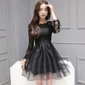 新款女裝歐根紗拼接蝴蝶結綁帶蕾絲連衣裙