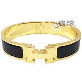 【Hermes 愛馬仕】Clic H LOGO琺瑯細版手環(PM 黑X金 H700001F01)