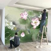 3d新中式荷花壁紙客廳沙發電視背景墻影視墻墻紙裝飾壁畫無縫墻布