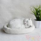 仿真玩偶公仔會呼吸的假貓咪毛絨玩具模型可愛【聚可愛】