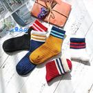 條紋中筒童襪 現貨 韓版復古棉襪學院風運動襪撞色滑板襪兒童中筒襪童襪☆米荻創意精品館