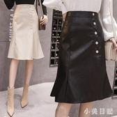 魚尾裙PU皮裙半身裙秋女大尺碼新款荷葉邊不規則一步裙中長裙a字裙 qf7530【小美日記】