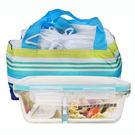 鍋寶 耐熱玻璃分隔保鮮盒+保溫提袋(84...