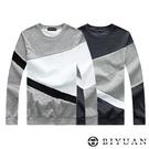 【OBIYUAN】刷毛大學T 台灣製 特殊設計款 保暖上衣 長袖T恤 衣服 共2色【HJ5612】