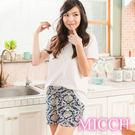 MICCH 涼夏輕薄透氣 嫘縈棉柔 MIT休閒短褲(拂曉圖騰)