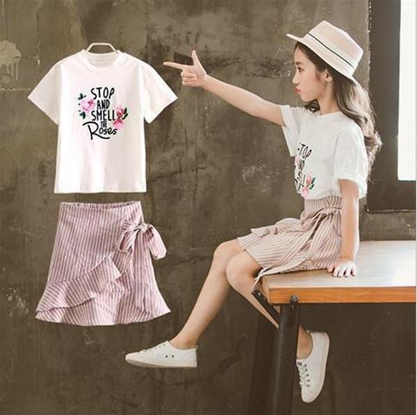 女童套裙2019夏裝新款兒童短袖套裝女孩中大童韓版洋氣休閒兩件套 維多原創