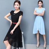 中大尺碼 2018夏季新款韓版中長款修身時尚短袖小清新不規則雪紡洋裝 DN10625【衣好月圓】