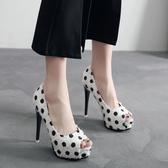 新品超高跟性感白色細跟女單鞋12cm優雅魚嘴宴會高跟細跟女鞋