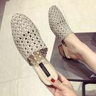 圓頭穆勒鞋包頭半拖鞋高跟涼拖鞋粗跟編麻鏤...