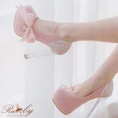 鞋子 側蝴蝶結亮片琉璃感華麗高跟鞋-Ruby s 露比午茶