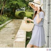 OB嚴選《DA4765-》織帶點綴美背造型抽繩綁帶傘襬細皺洋裝.2色