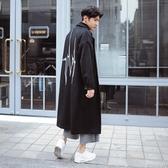 風衣外套-時尚翻領後背心電圖長版毛呢男大衣73ip41【時尚巴黎】