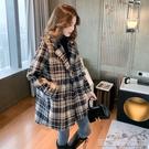 長款外套格子外套女中長款秋冬裝新款韓版流行西裝領加厚大衣 【快速出貨】
