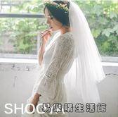 新娘頭紗雙層插梳可遮面短款頭紗