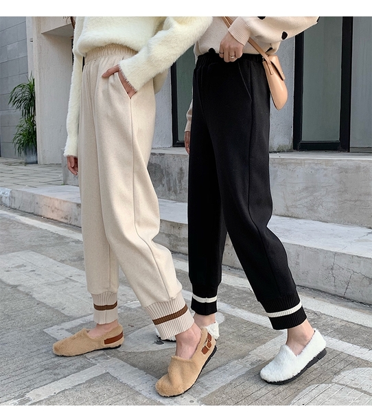 EASON SHOP(GW9106)韓版純色毛呢雙口袋鬆緊腰收腰針織拼接束腳直筒休閒褲女高腰長褲九分運動褲哈倫