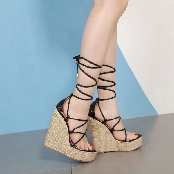 特惠 新款歐美時尚松糕厚底舞T臺交叉坡跟涼鞋恨天高16cm高跟女鞋