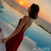 聖誕禮物露背連身裙女夏裝露背性感吊帶連身裙紅色沙灘裙子雪紡海邊度假長裙igo曼莎時尚