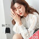 上衣 花朵蕾絲直條鏤空縮袖透肌感上衣-BAi白媽媽【161043】